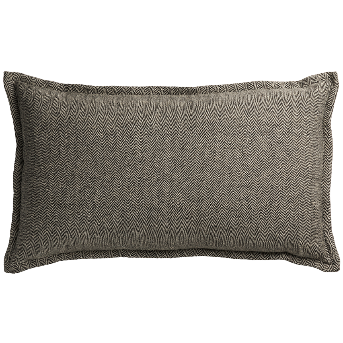 de Le Cuona | Classic Linen Cushion with Self Flange Charcoal