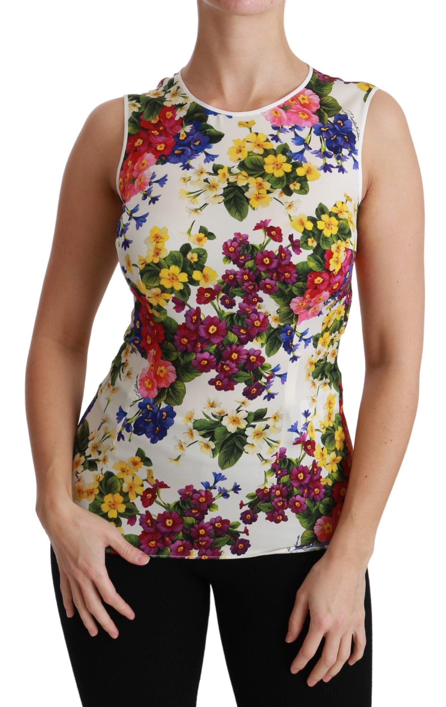 Dolce & Gabbana Women's Floral Sleeveless Top White TSH4477 - IT38|XS