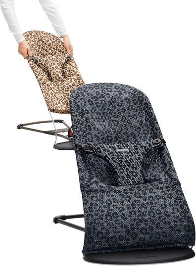 BabyBjörn Bliss Vippestol Mesh Leopard inkl. Cotton Tygsits, Antracit/Beige