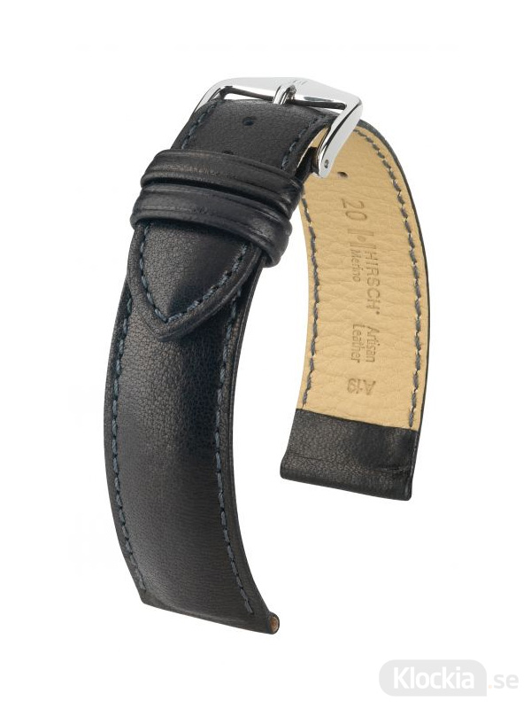 Hirsch Merino 18mm Artisan Leather Large Svart/Silver 01206050-2-18