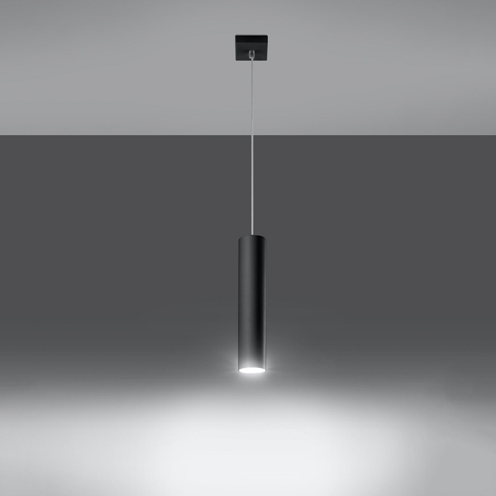 Riippuvalaisin Tube, musta, 1-lamppuinen