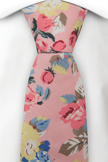 Bomull Slips, Pastellrosa, gule & blå blomster på lyserosa, Rosa, Blomster