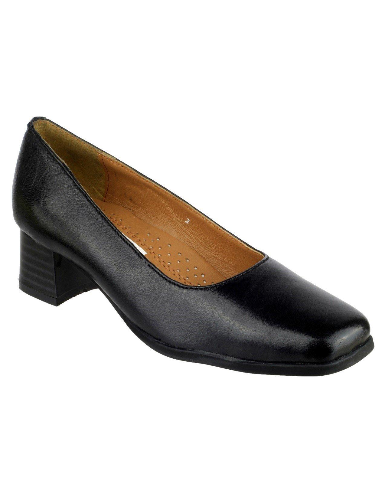 Amblers Women's Walford Ladies Leather Court Shoe Black 15234 - Black 3