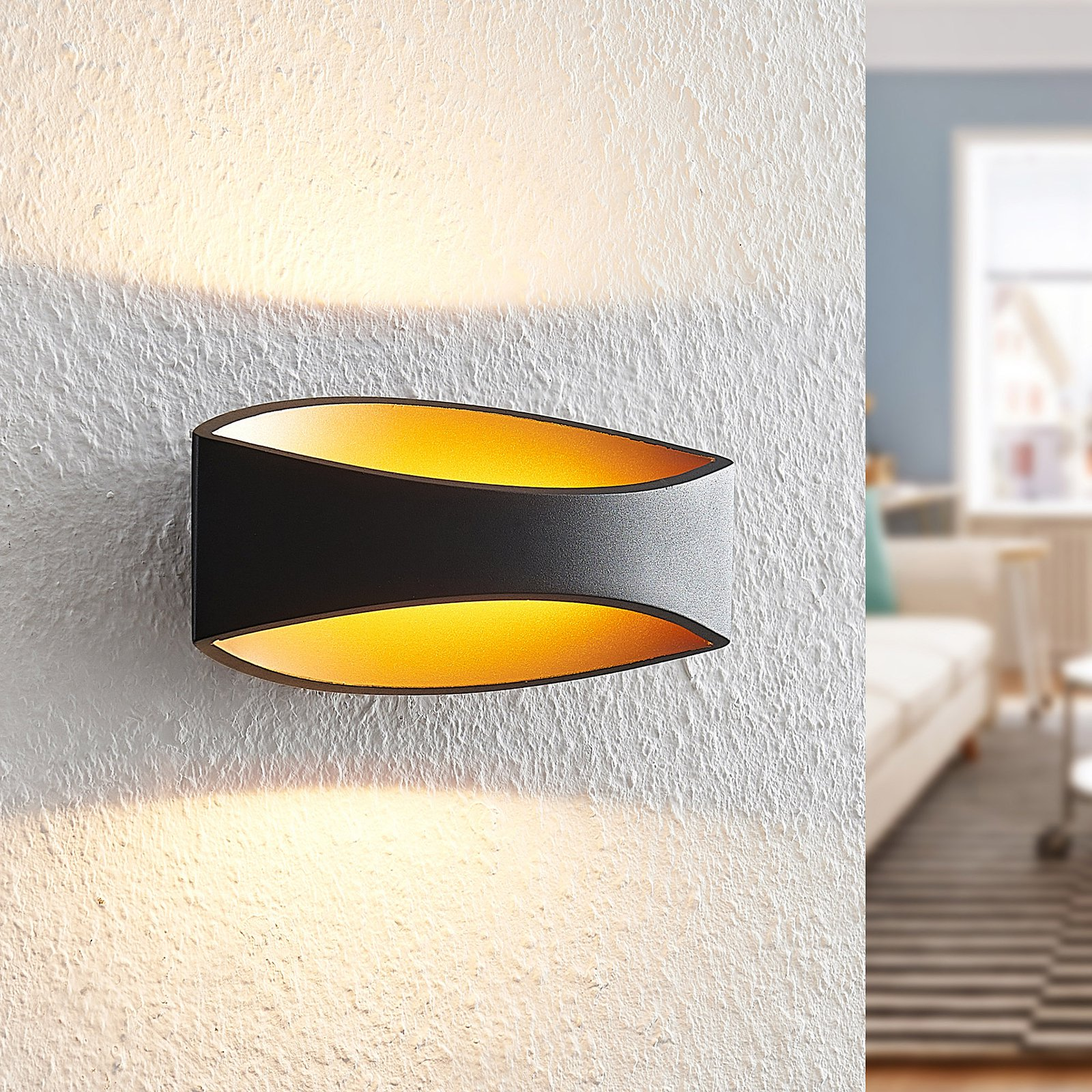 Arcchio Jelle LED-vegglampe, 25 cm, svart