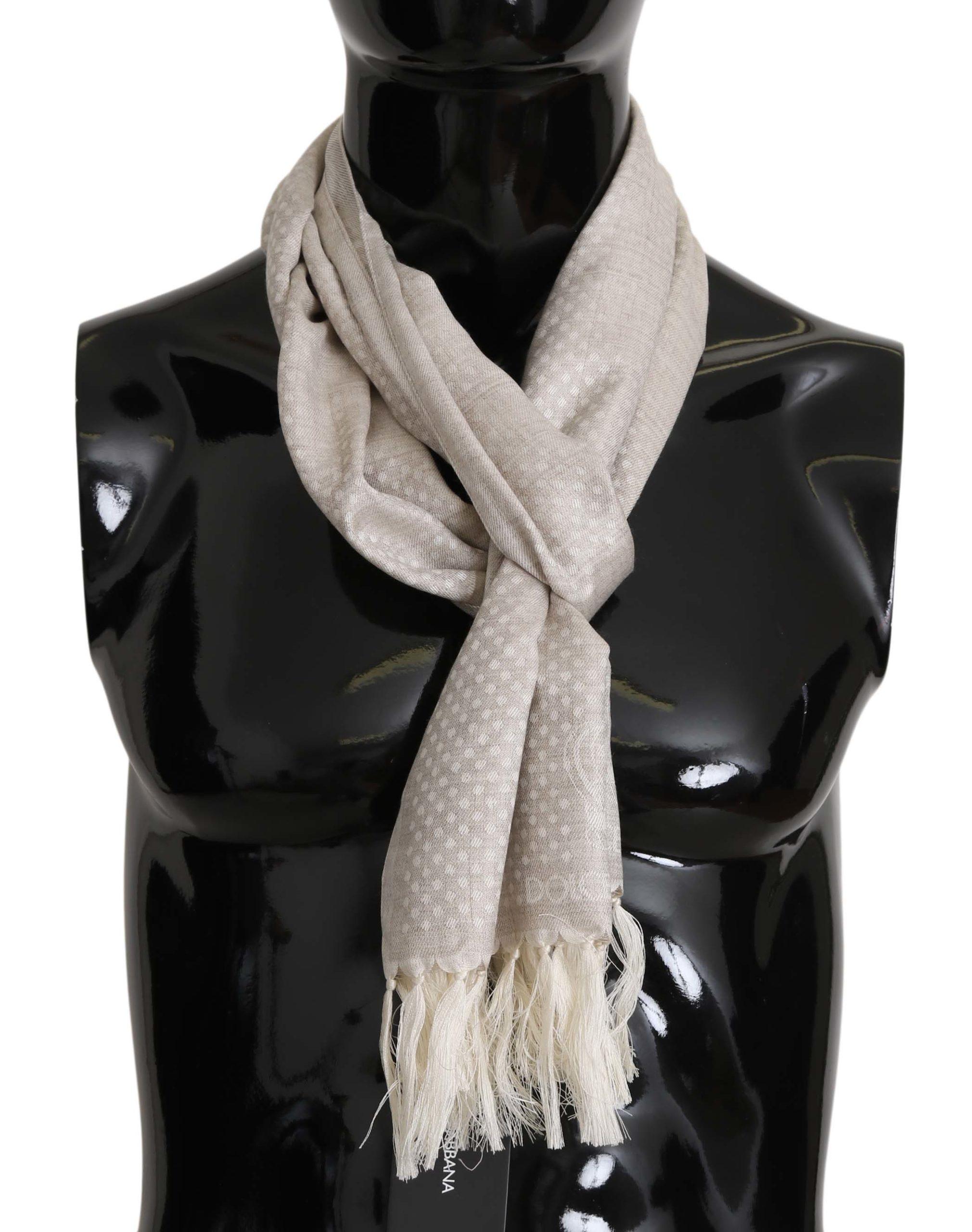 Dolce & Gabbana Men's Silk Wool Fringes Wrap Scarf Khaki MS5145