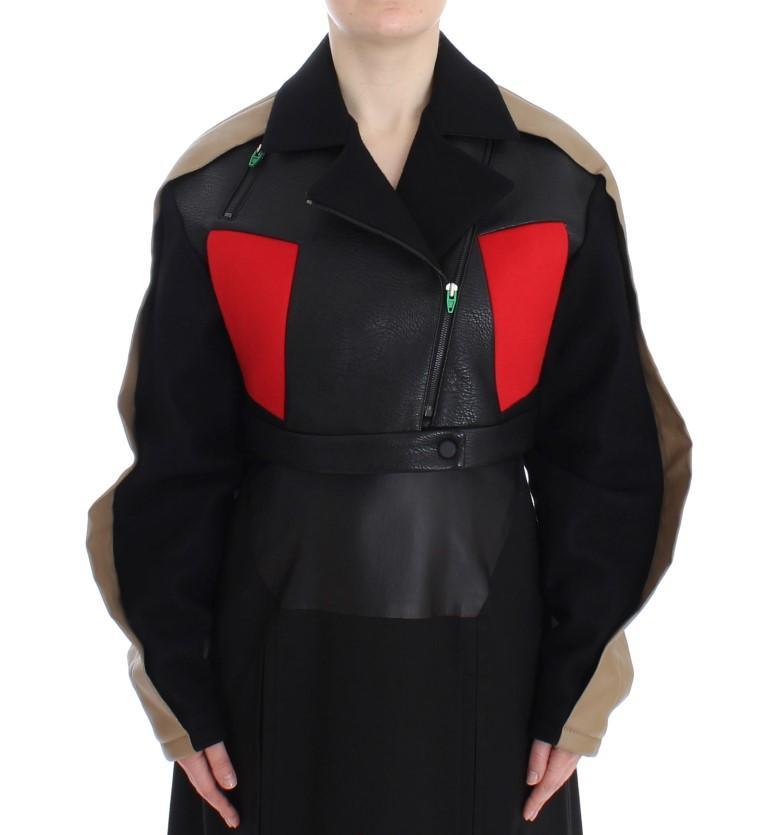 KAALE SUKTAE Women's Short Croped Biker Jacket Black SIG12605 - IT40|S