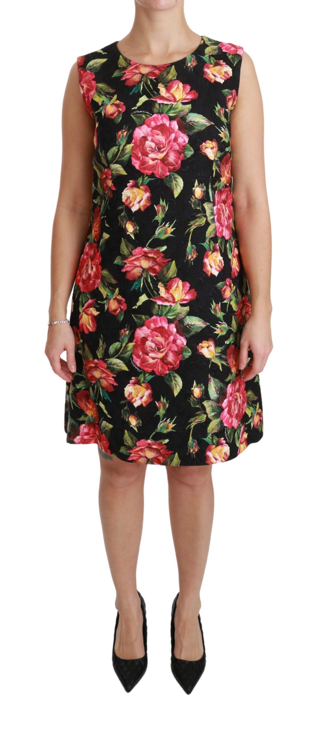 Dolce & Gabbana Women's Floral Shift A-line Mini Dress Black DR2473 - IT44|L