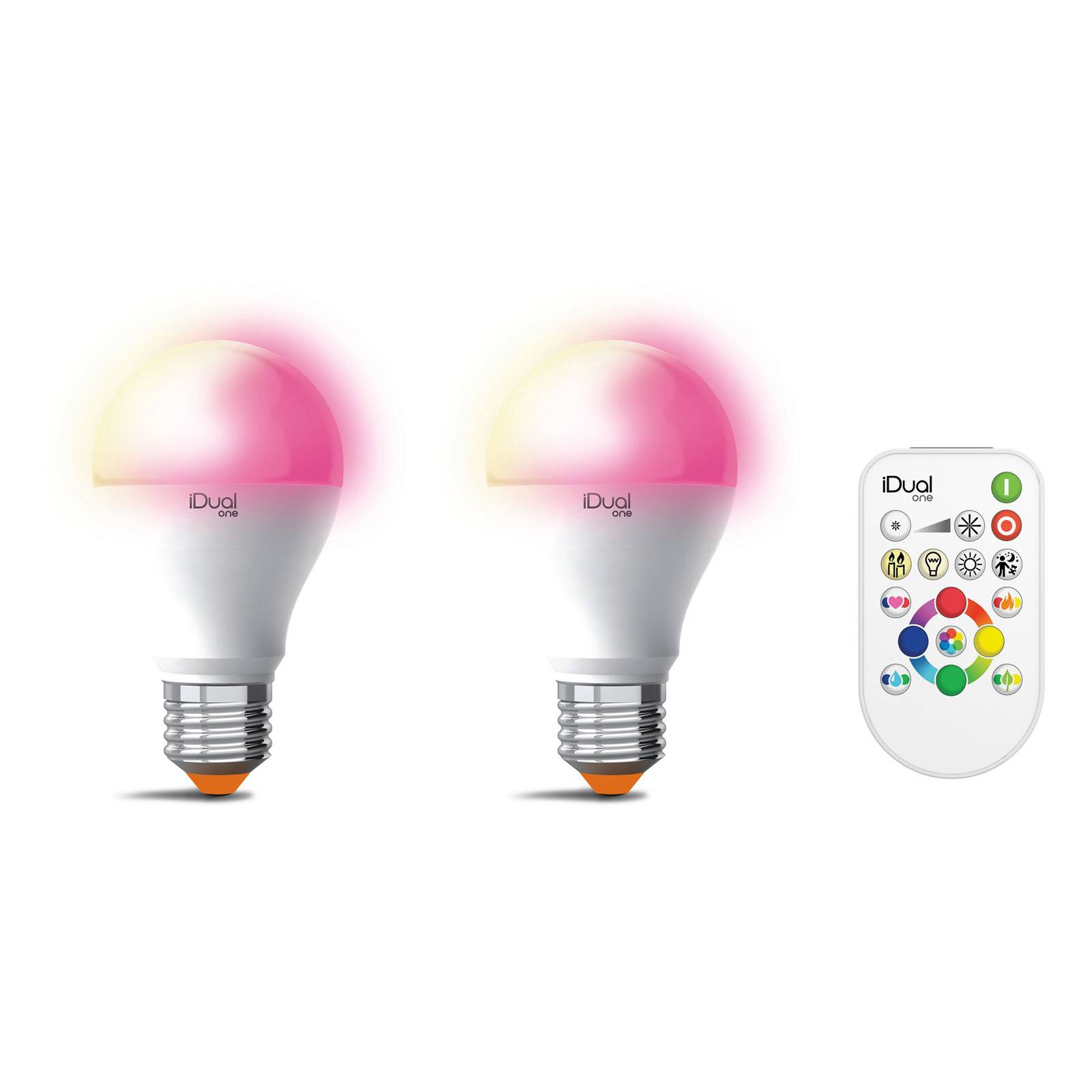 iDual One E27 A60 9,5W 2 kpl RGBW, kaukosäädin