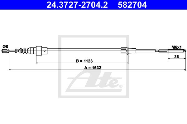 Käsijarruvaijeri ATE 24.3727-2704.2