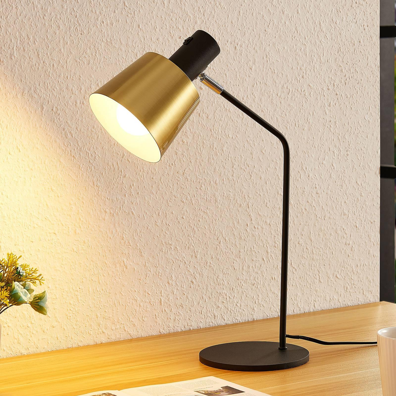 Lindby Vlada -pöytälamppu, messinki, musta