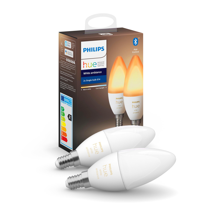 Philips Hue - E14 2-Pack Bulb - White Ambience - Bluetooth