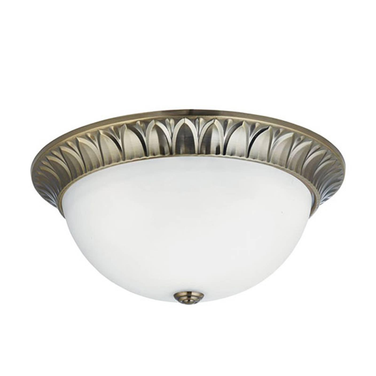 Glass-taklampe Flush messing antikk, Ø 38 cm