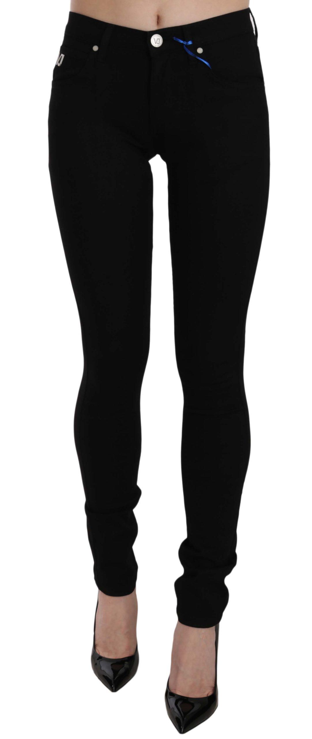 Versace Jeans Women's VJ Logo Denim Flat Skinny Fit Trouser Black PAN61007 - W33
