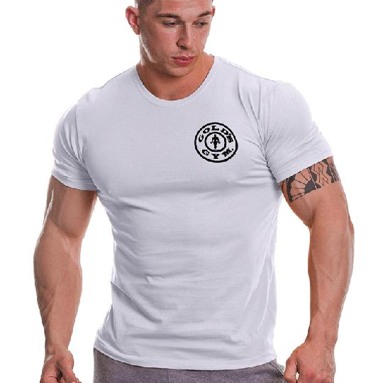 Gold's Gym Basic Left Chest T-shirt, White/Black