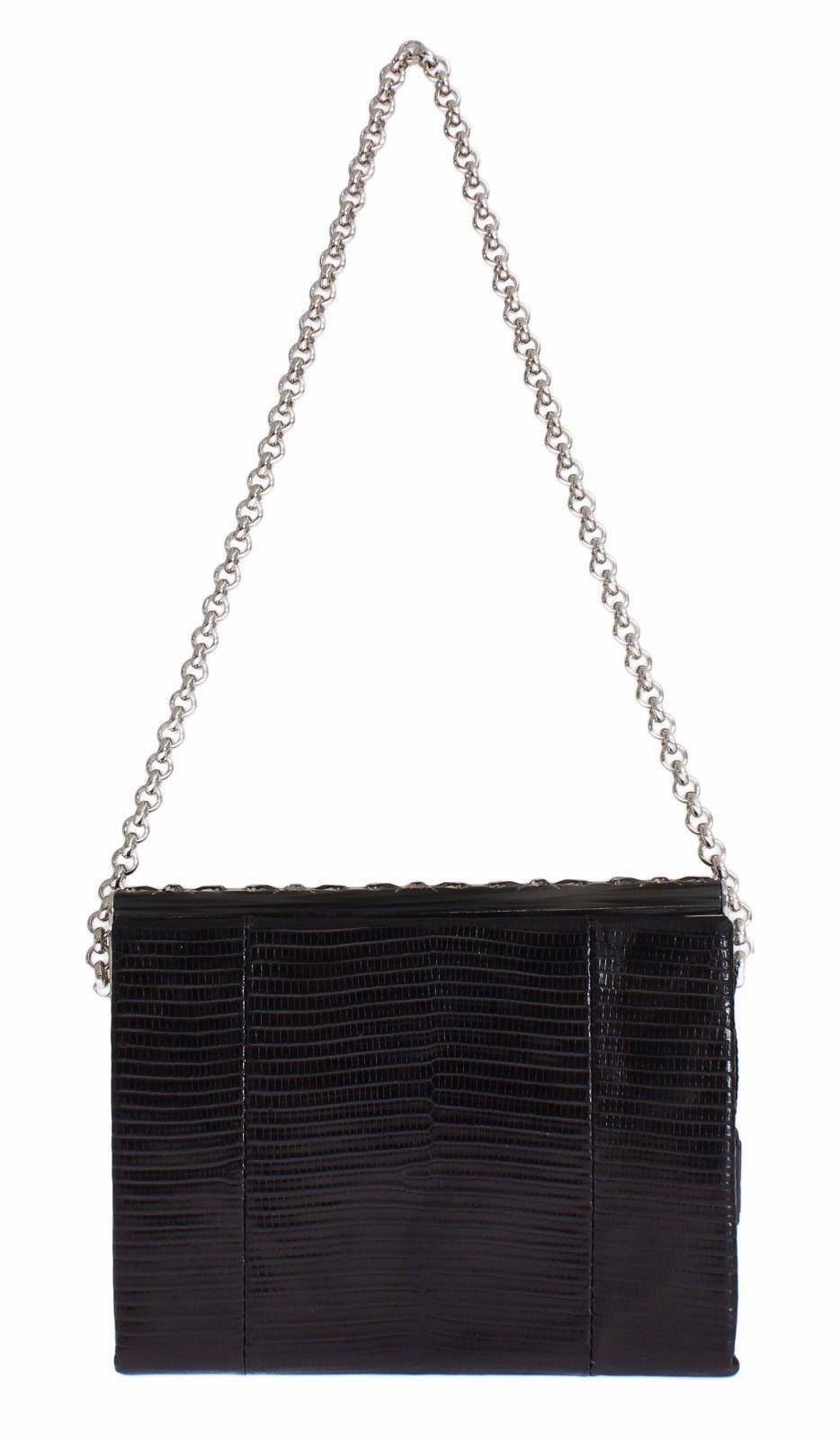 Dolce & Gabbana Women's Varano Lizard Evening Party Shoulder Bag Black SIG15209