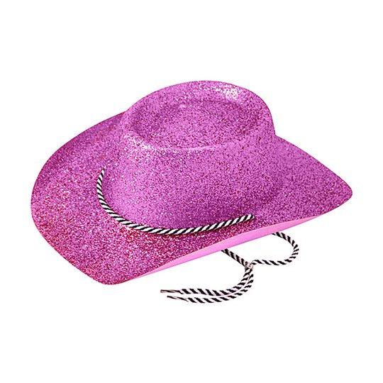 Cowboyhatt Lila med Glitter - One size