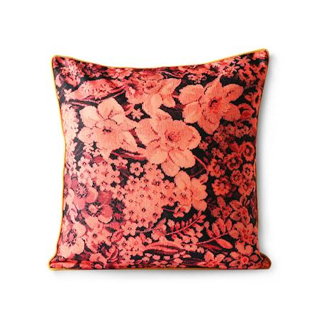 Printed Floral Cushion Coral/Black 50x50 cm