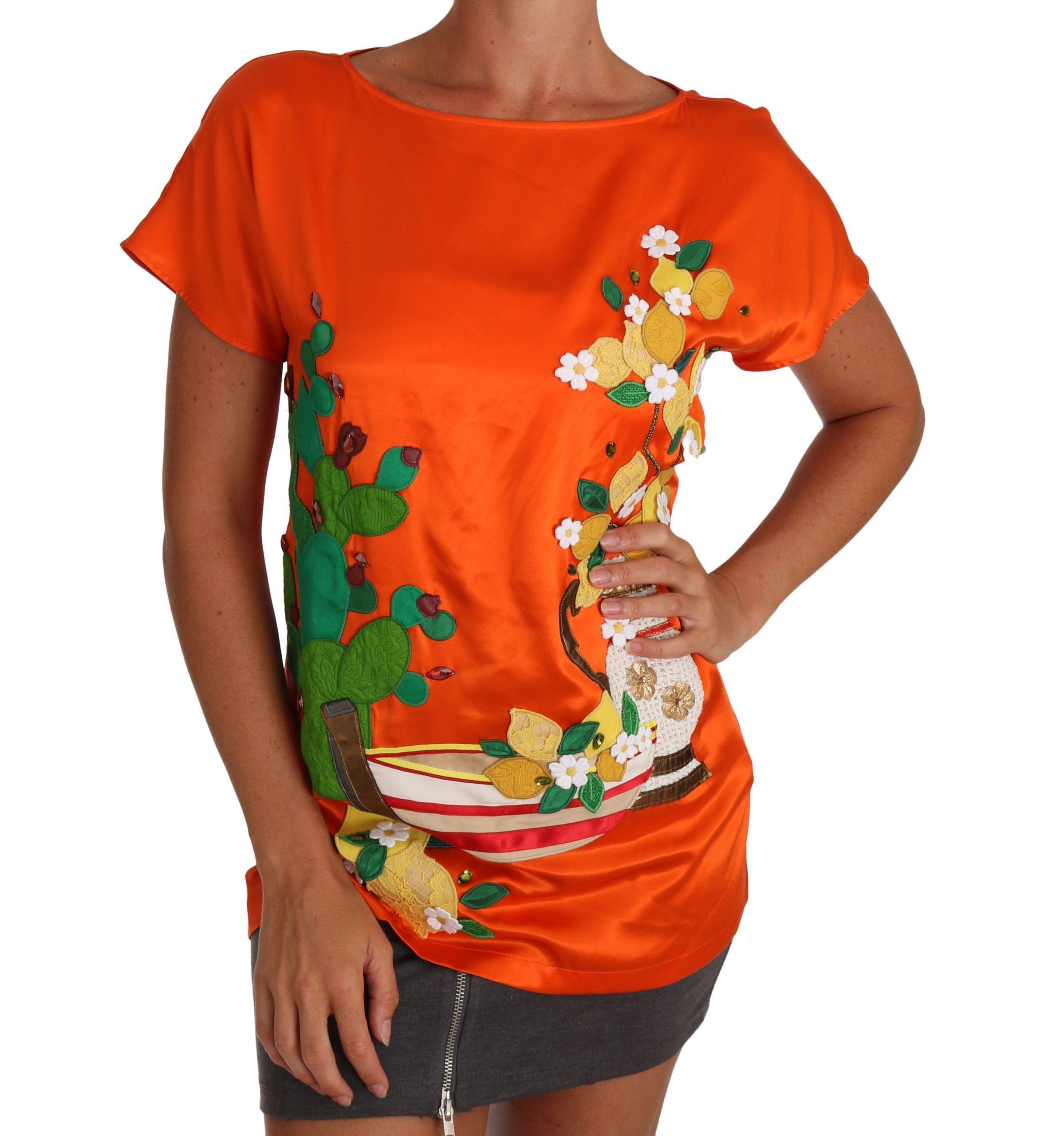 Dolce & Gabbana Women's Sicily Crystal T-Shirts Orange TSH2381 - IT36 | XS