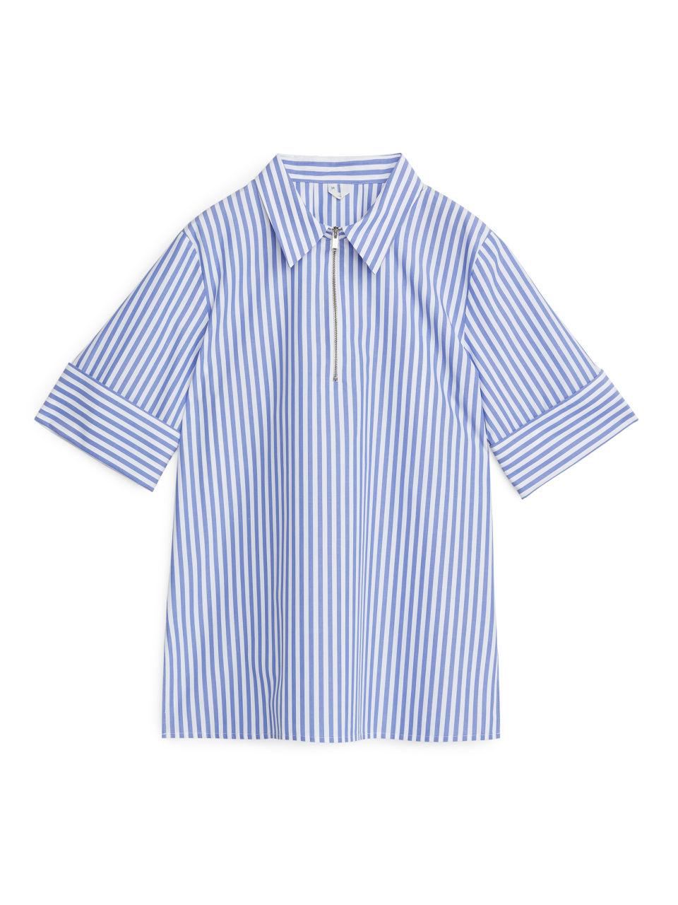 Half-Zip Cotton Top - Blue
