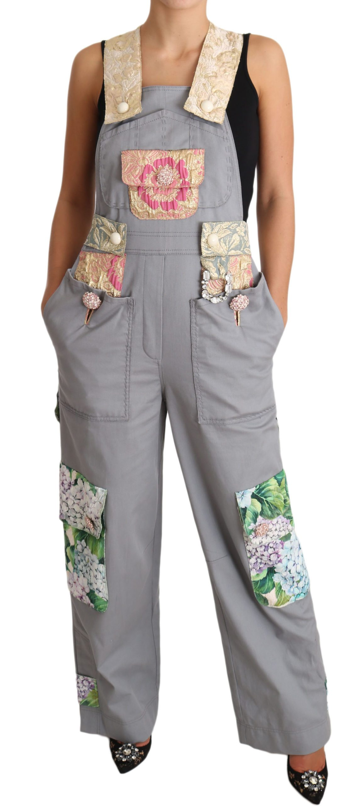 Dolce & Gabbana Women's Overall Denim Crystal Hortensia Jeans Pink TSH3407 - IT40 S