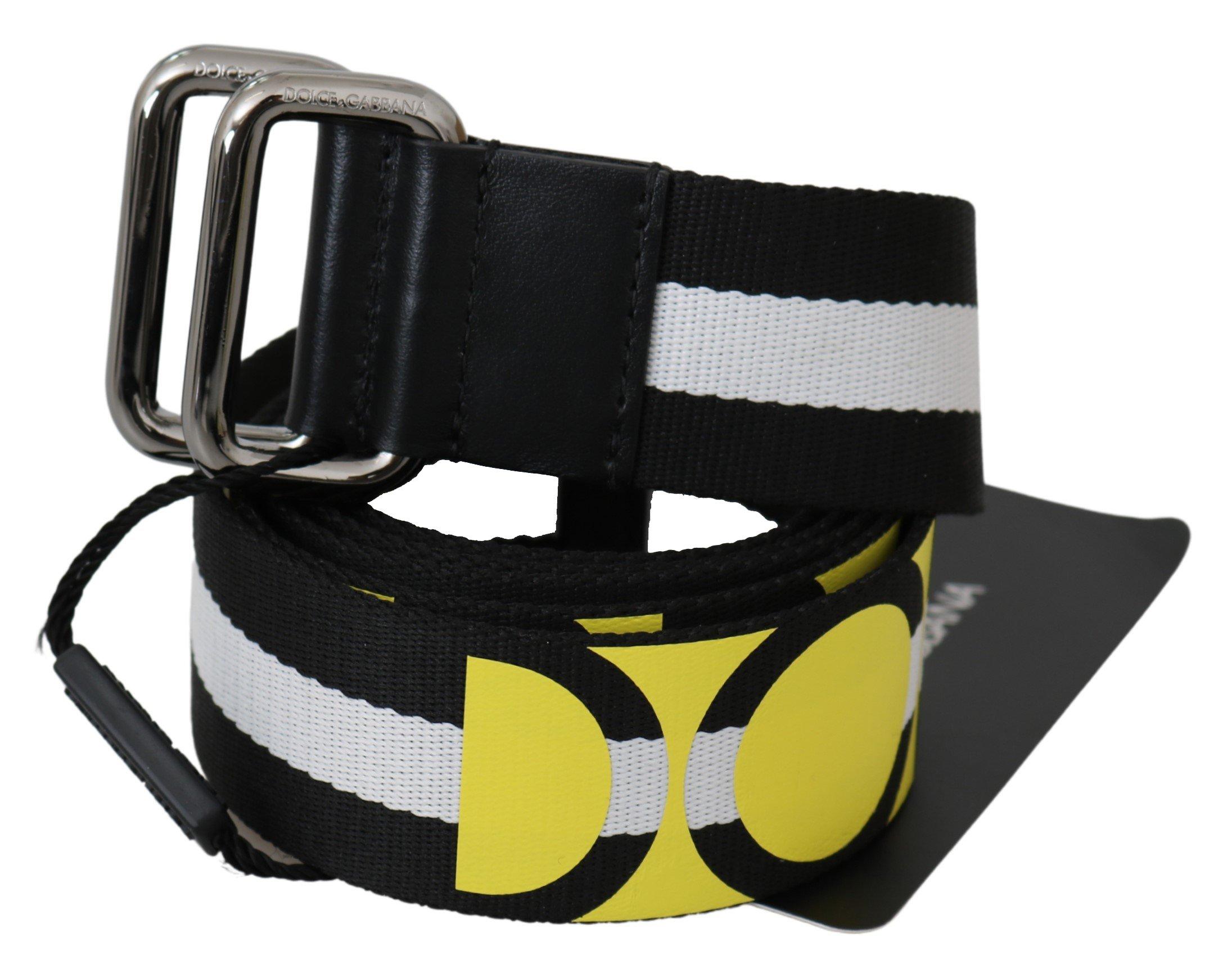 Dolce & Gabbana Men's Nylon Logo Stripe Belt Black BEL60701 - 95 cm / 38 Inches
