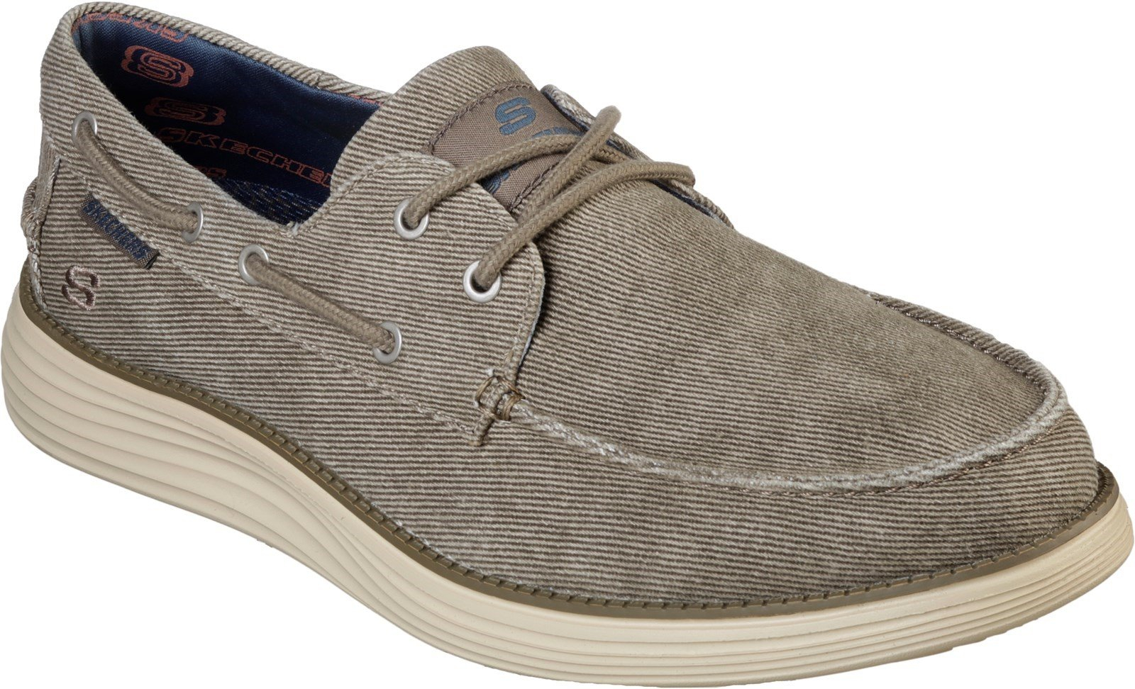 Skechers Men's Lorano Moc Toe Canvas Lace Up Trainer Various Colours 28491 - Taupe 6