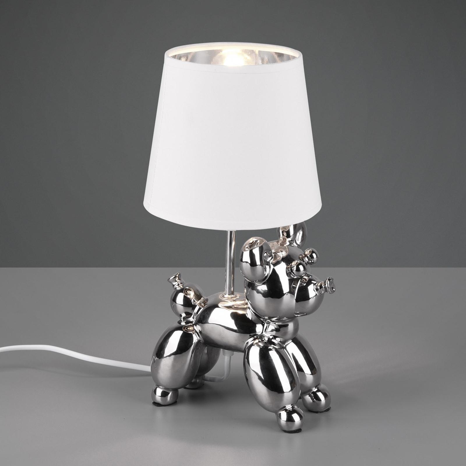 Pöytävalaisin Bello, koiran kuva, hopea/valkoinen