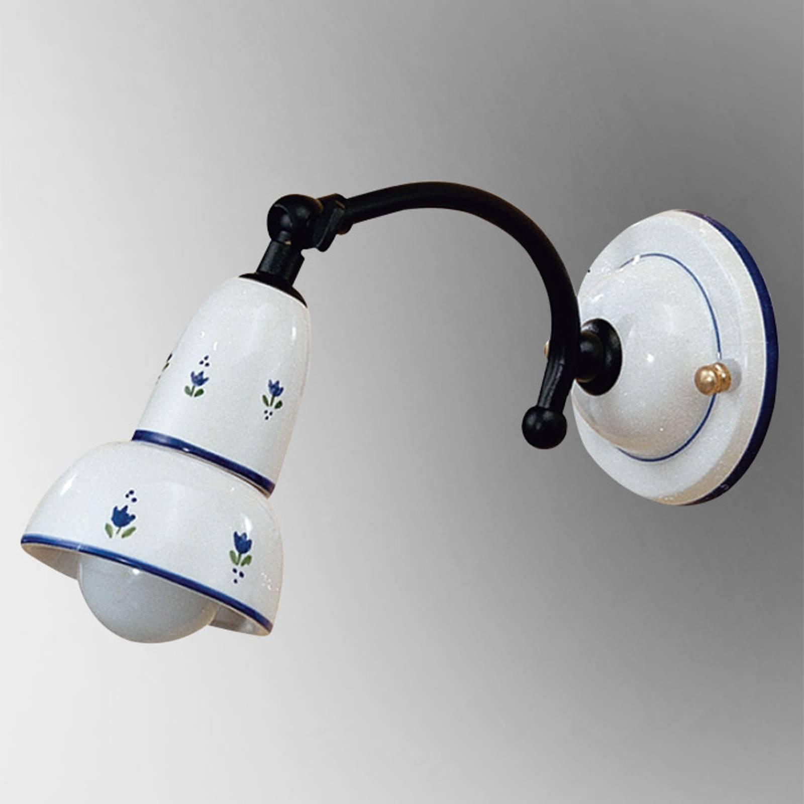 Vegglampe Ella med blått mønster og bevegelig spot