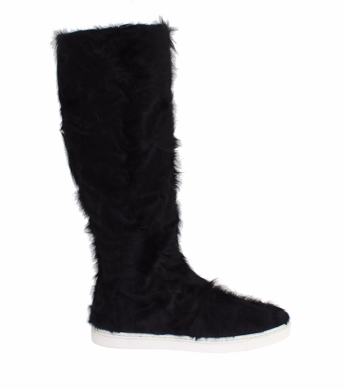 Black Xiangao Lamb Fur Leather Boots - EU35/US4.5
