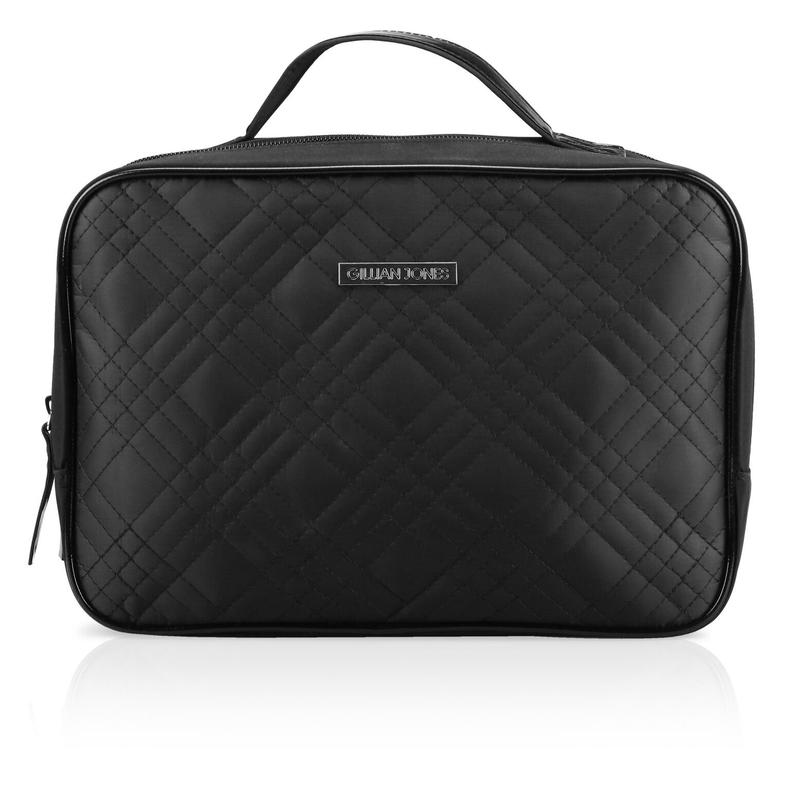 Gillian Jones - Cosmetic Bag with two compartments and black quilted nylon