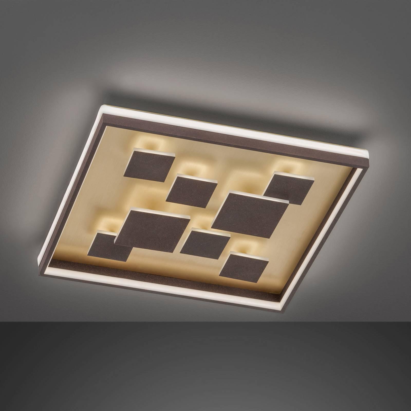 LED-taklampe Rico, dimbar, kantet, brun