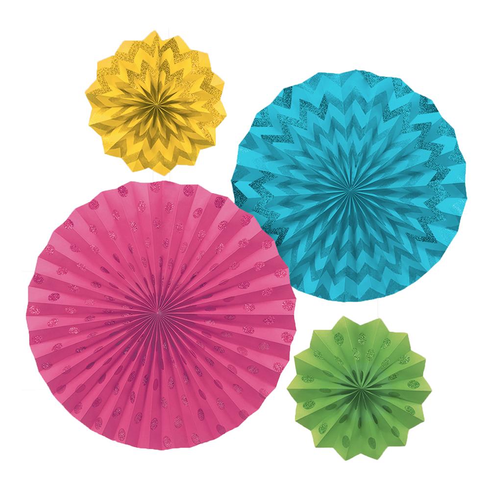 Pappersfjädrar Flerfärgade Glitter - 4-pack