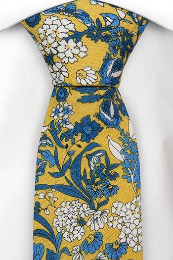 Bomull Slips, Blå og hvite blomster på honninggult, Gull, Blomstrete