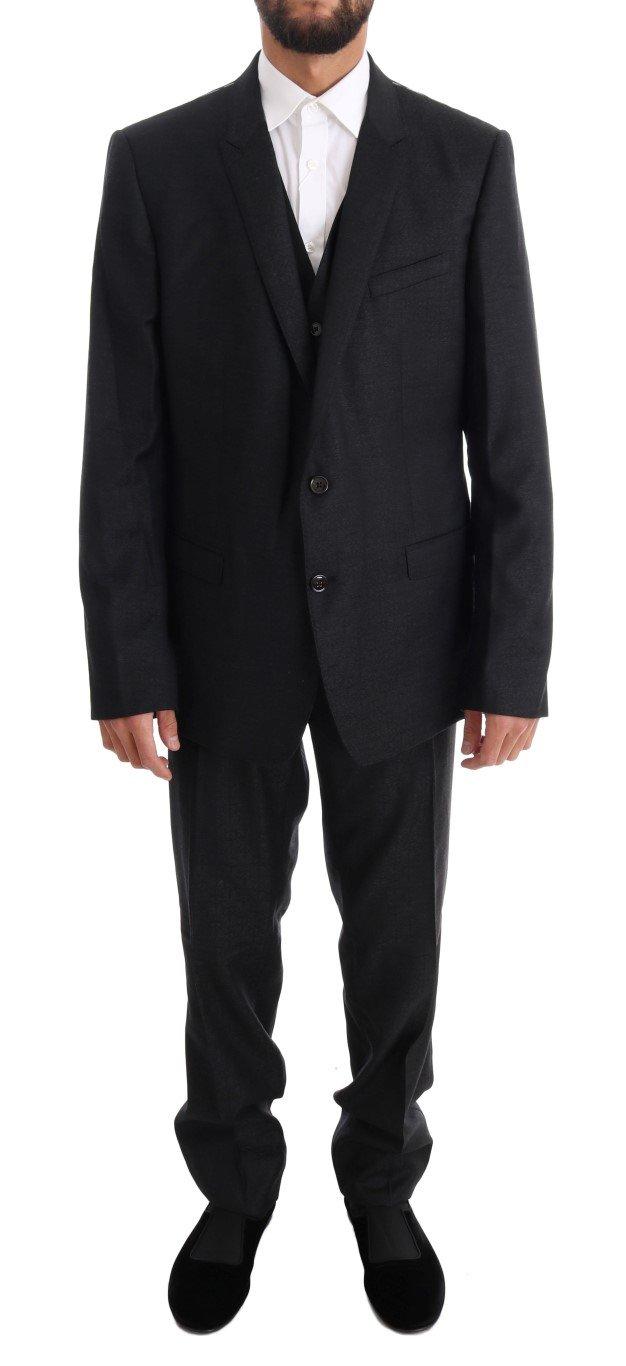 Dolce & Gabbana Men's Wool GOLD Slim Fit 3 Piece Suit Gray KOS1084 - IT56   XXL