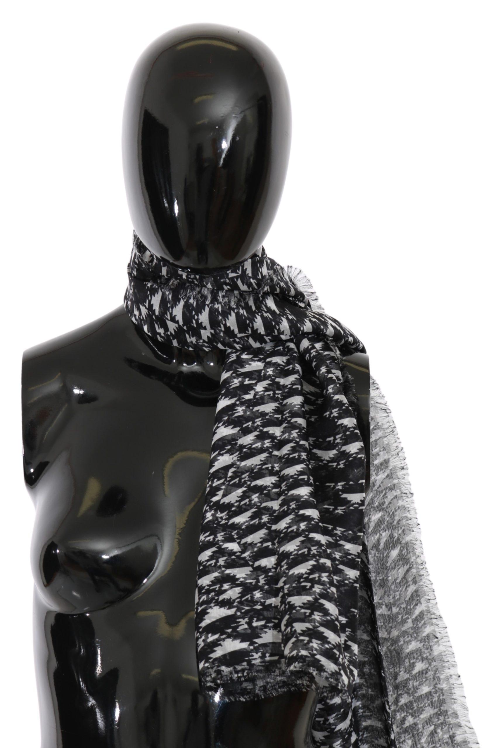 Costume National Women's Neck Wrap Silk Scarf Black MS1529