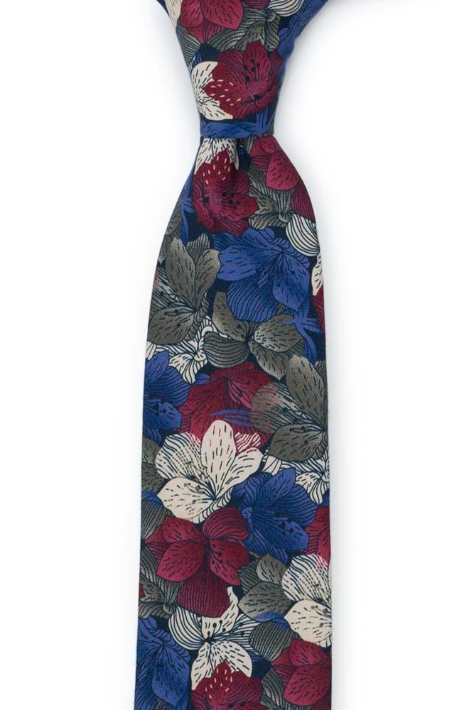 Bomull Smale Slips, Blomster i hvitt, burgunder, khaki og lavendel