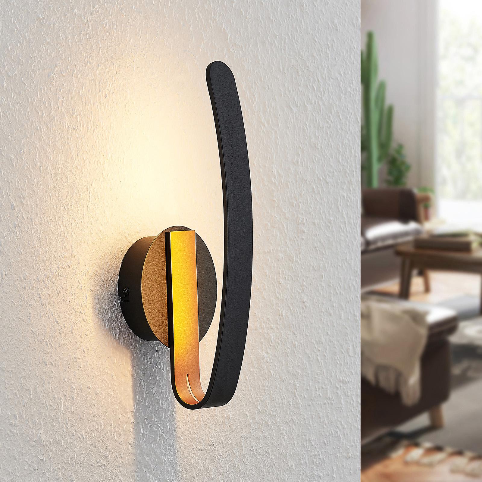 Arcchio Dzemail-LED-seinävalaisin, epäsuora, musta