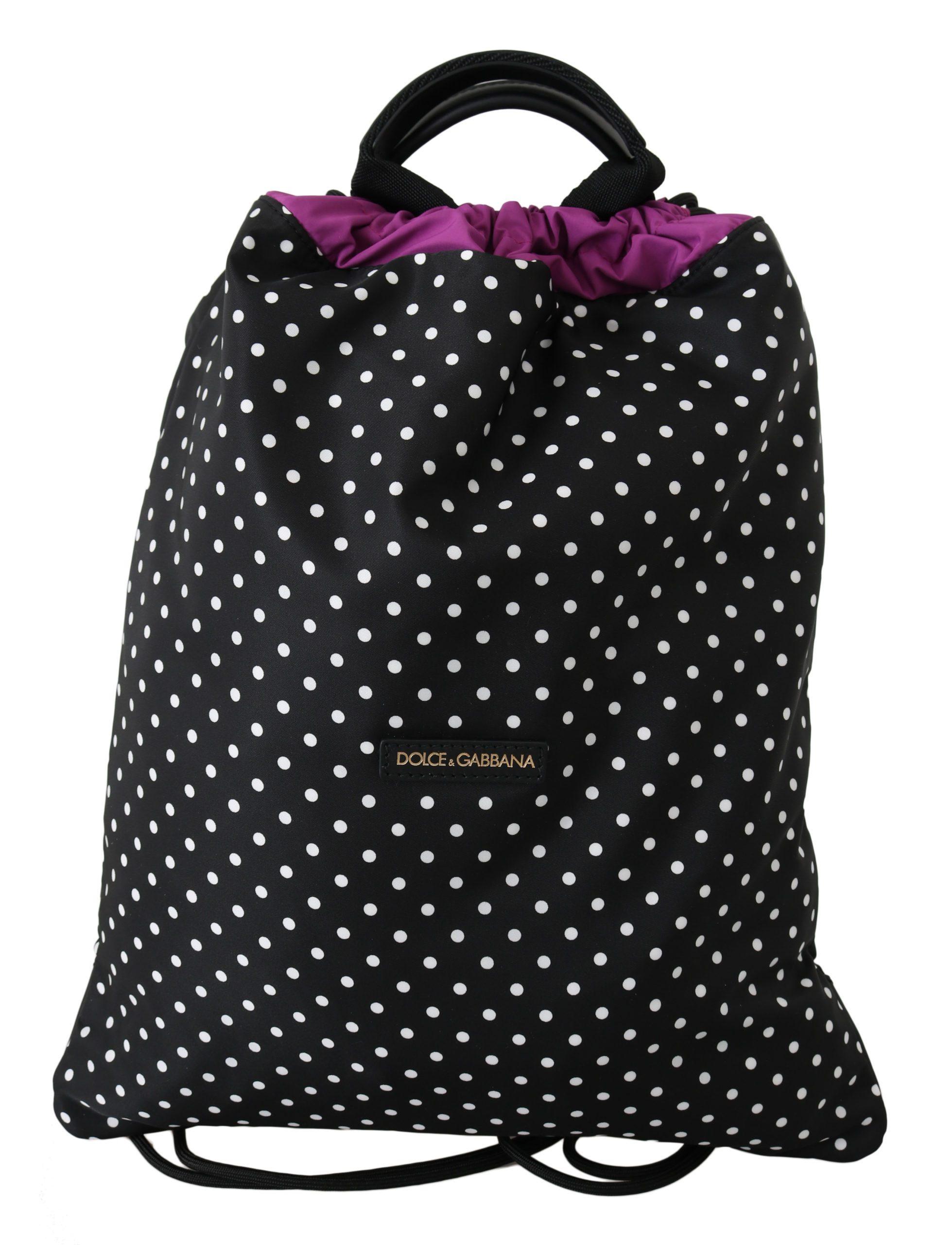 Dolce & Gabbana Women's Dotted Drawstring Nap Sack Black VA8638