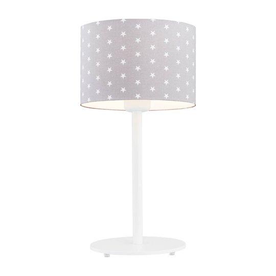 Bordlampe Moa, stoffskjerm grå/stjerne, hvit