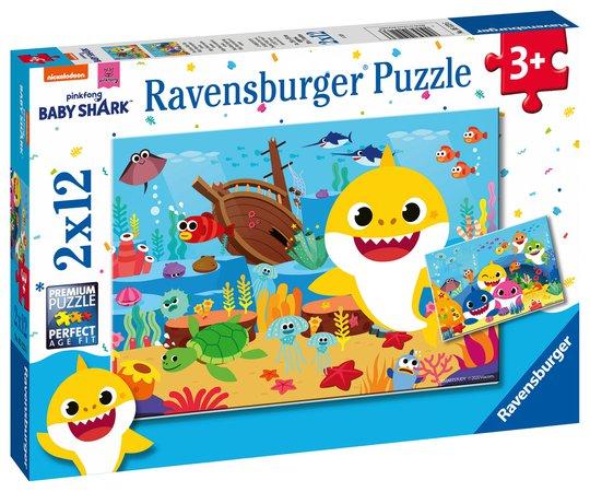 Ravensburger Puslespill Baby Shark Utforsker 2x12 Brikker