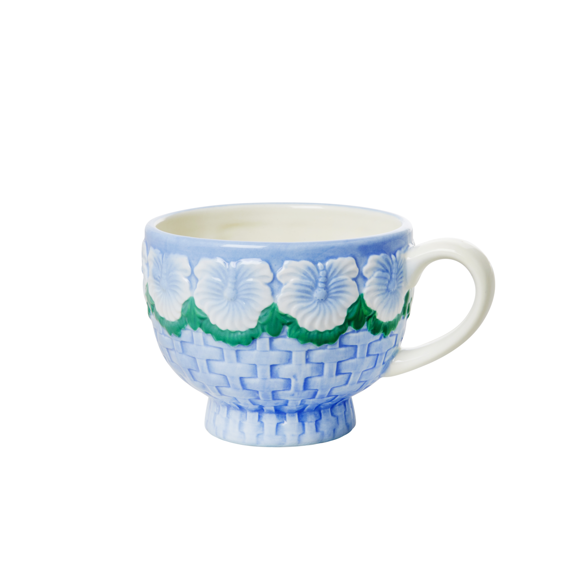 Rice - Ceramic Mug - Embossed Blue Flower Design
