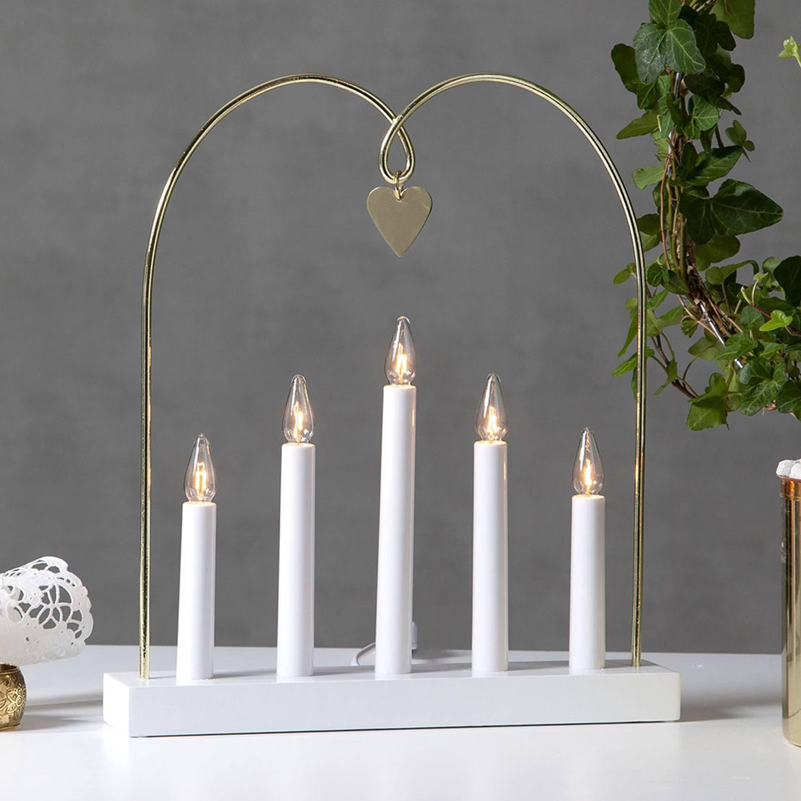 Glossy-kynttelikkö kaarella, 5-lamp., valkoinen