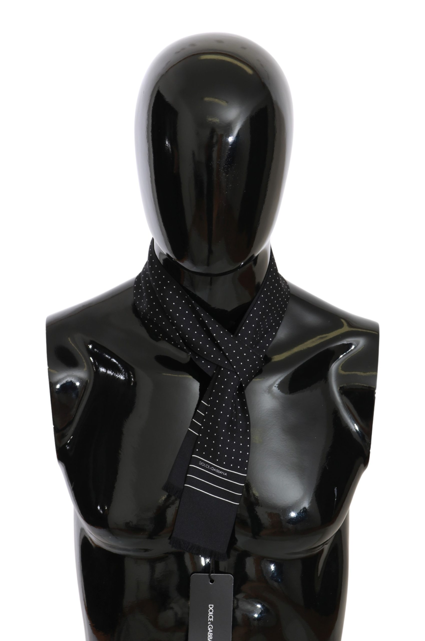 Dolce & Gabbana Women's Silk Polka Dot Skinny Scarf Black MS5656