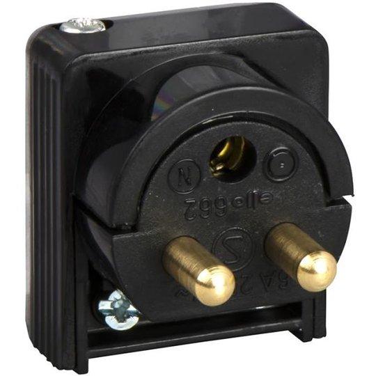 Schneider Electric 189519700 Lampun pistoke maadoitettu, 2-napainen, kaapeliasennukseen, musta