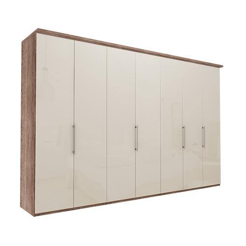 Garderobe Atlanta - Mørk rustikk eik 350 cm, 236 cm, Med gesims