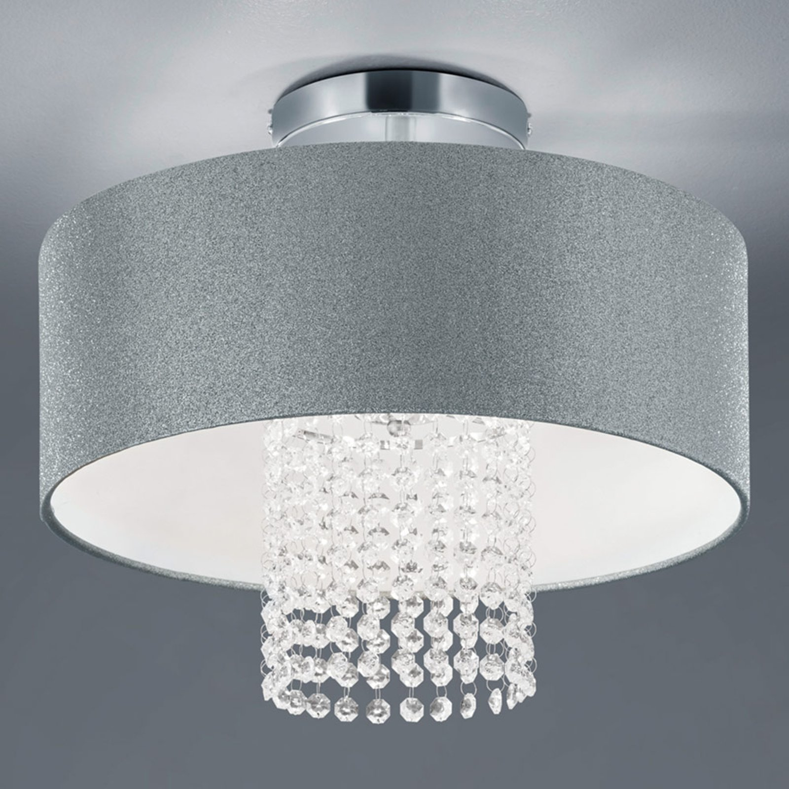 Taklampe King med tekstilskjerm, sølv