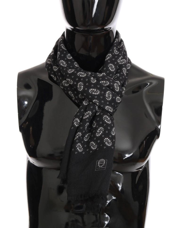 Dolce & Gabbana Men's Cashmere Floral Scarf Gray MS2249