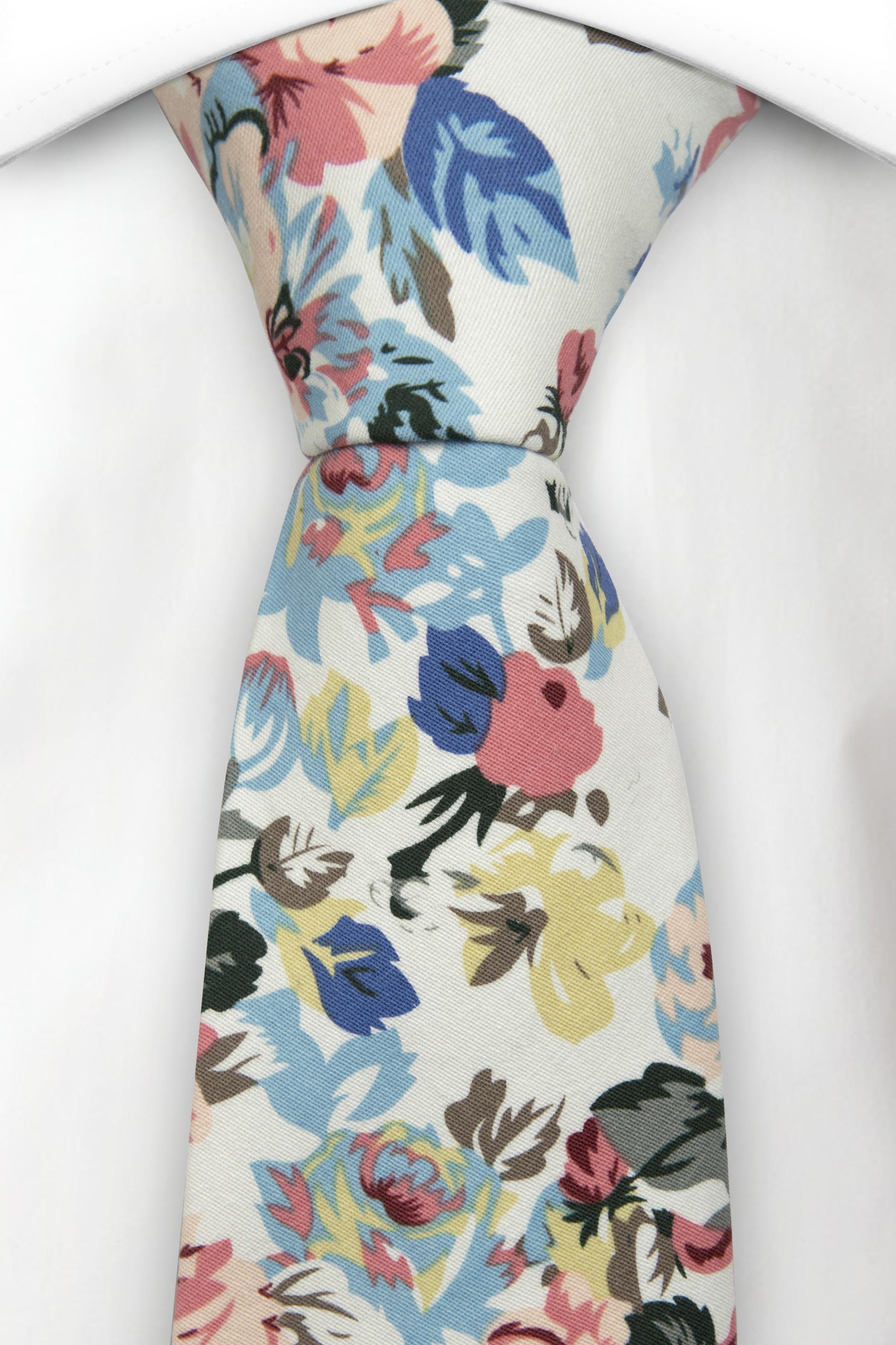 Bomull Slips, Rosa, blå & gule blomster & blader på hvit base, Notch GASPARD