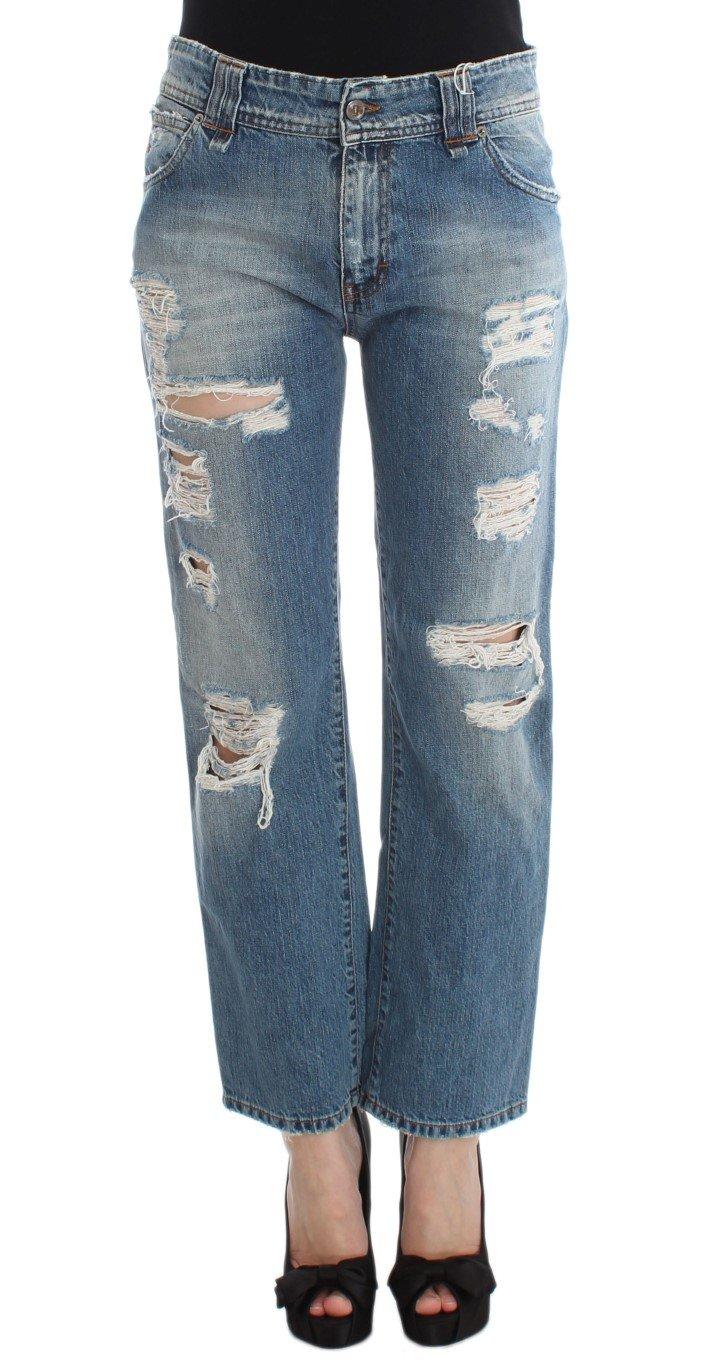 John Galliano Women's Cotton Boyfriend Fit Cropped Jeans Blue SIG30175 - W24