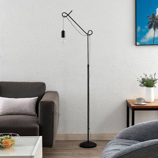 Lucande Jorna gulvlampe i svart, grå kabel